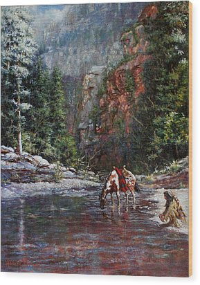 Wood Print featuring the painting A Prospector's Pan by Harvie Brown