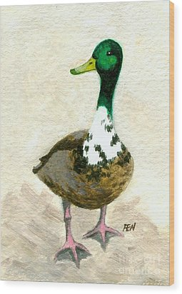 Wood Print featuring the painting A Proud Duck by Jingfen Hwu