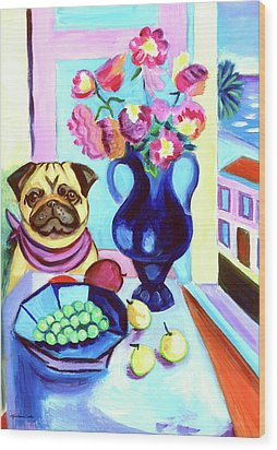 A Pug's Dinner At Henri's - Pug Wood Print by Lyn Cook