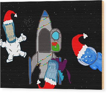 A Puppydragon Christmas In Space Wood Print by Jera Sky