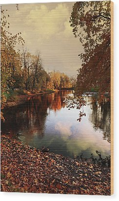 a quiet evening in a city Park painted in bright colors of autumn Wood Print