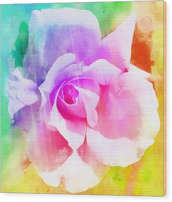 A Rainbow Of A Rose Two Wood Print by Cathie Tyler