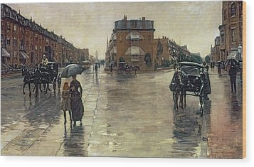 A Rainy Day In Boston Wood Print by Childe Hassam