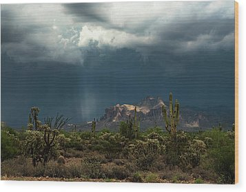Wood Print featuring the photograph A Rainy Evening In The Superstitions  by Saija Lehtonen