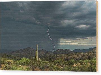 Wood Print featuring the photograph A Rainy Sonoran Day  by Saija Lehtonen