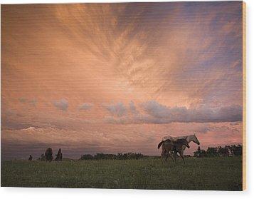A Receding Thunderstorm Creates Wood Print by Jim Richardson