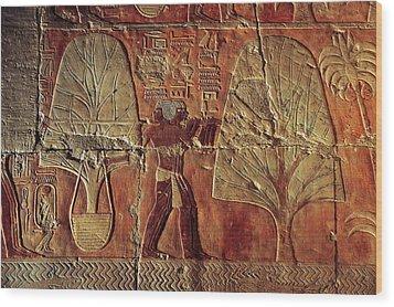 A Relief Of Men Carrying Myrrh Trees Wood Print by Kenneth Garrett