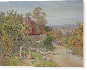 A Rest By The Way Wood Print by Charles James Adams