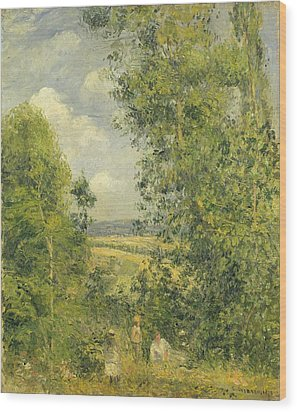 A Rest In The Meadow Wood Print by Camille Pissarro