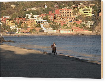 Wood Print featuring the photograph A Ride On The Beach by Jim Walls PhotoArtist