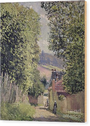 A Road In Louveciennes Wood Print by Alfred Sisley
