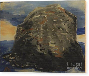A Rock Wood Print by Marie Bulger