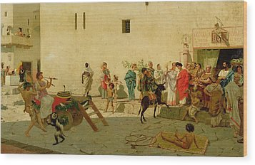A Roman Street Scene With Musicians And A Performing Monkey Wood Print by Modesto Faustini
