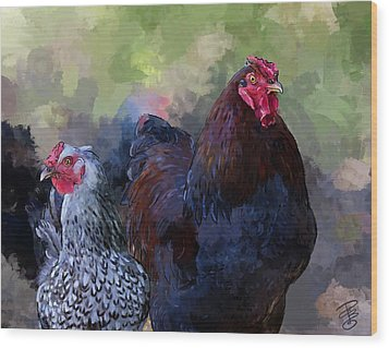 A Rooster And A Hen Wood Print by Debra Baldwin