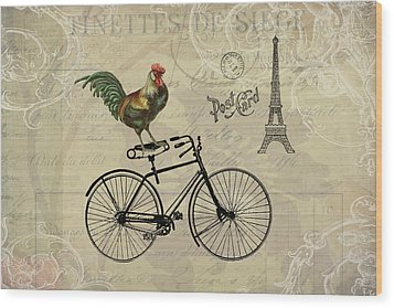 A Rooster In Paris Wood Print