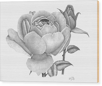 A Rose Bloom Wood Print