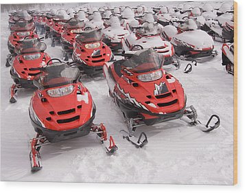 A Row Of Snowmobiles Sit Waiting Wood Print by Taylor S. Kennedy
