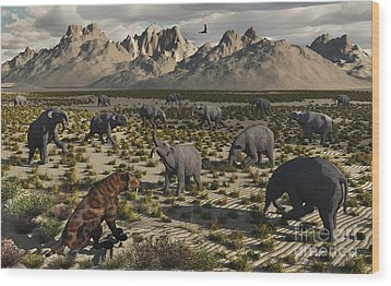A Sabre-toothed Tiger Stalks A Herd Wood Print by Mark Stevenson
