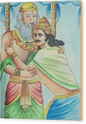A Scene From Mahabharata Wood Print by Tanmay Singh