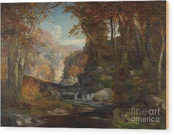 A Scene On The Tohickon Creek Wood Print by Thomas Moran