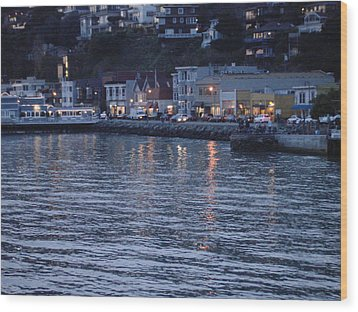 A Scenery Of Sausalito At Dusk Wood Print