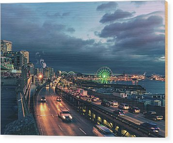A Seattle Evening Wood Print