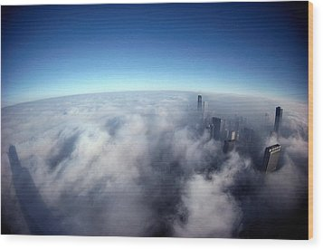 A Shadow Of The Sears Tower Slants Wood Print