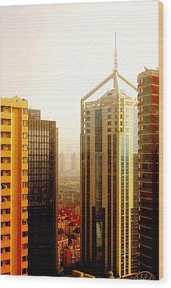 A Shanghai Sunset Wood Print by Christine Till