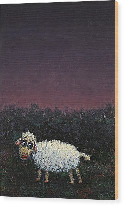 A Sheep In The Dark Wood Print by James W Johnson