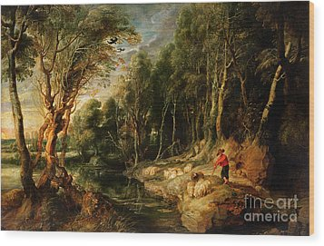 A Shepherd With His Flock In A Woody Landscape Wood Print by Rubens
