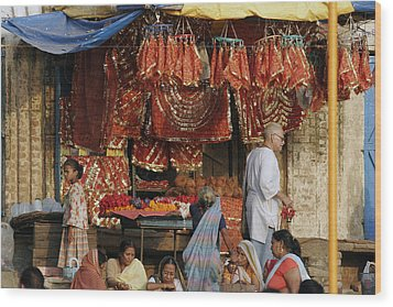 A Shop At The Ghat Wood Print