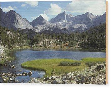 A Sierra Mountain Lake In Summer Wood Print by Stephen Sharnoff
