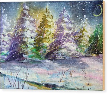 A Silent Night Wood Print by Mindy Newman