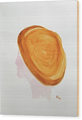 Wood Print featuring the painting A Simple Hat by Sandy McIntire