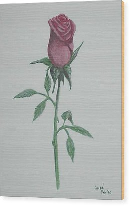 A Single Red Rose Wood Print by Hilda and Jose Garrancho