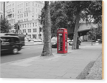 A Single Red Telephone Box On The Street Bw Wood Print