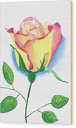A Single Rose Wood Print by Rodney Campbell