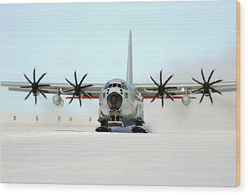 A Ski-equipped Lc-130 Hercules Wood Print by Stocktrek Images