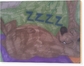 A Sleepy Bear Wood Print