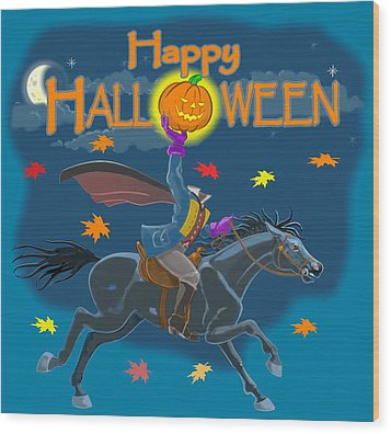A Sleepy Hollow Halloween Wood Print