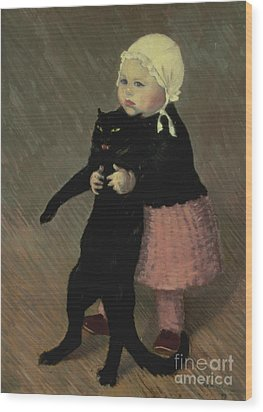 A Small Girl With A Cat Wood Print by TA Steinlen