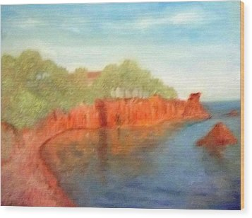 A Small Inlet Bay With Red Orange Rocks Wood Print