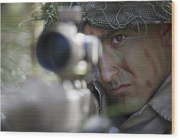 A Sniper Sights In On A Target Wood Print by Stocktrek Images