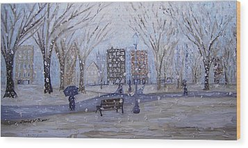 A Snowy Afternoon In The Park Wood Print by Daniel W Green