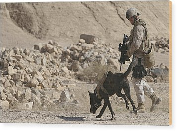 A Soldier And His Dog Search An Area Wood Print by Stocktrek Images