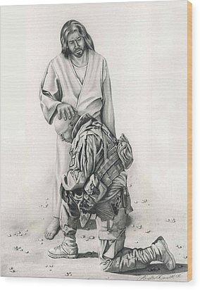 A Soldier's Prayer Wood Print by Linda Bissett