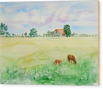 Wood Print featuring the painting A Spring Graze by Sharon Mick