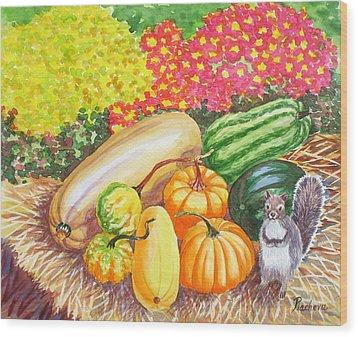A Squirrel And Pumpkins.2007 Wood Print by Natalia Piacheva