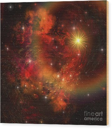 A Star Explodes Sending Out Shock Waves Wood Print by Corey Ford
