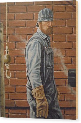 Wood Print featuring the painting A Steam Fitter's Day by James Guentner